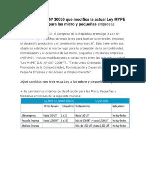 Promulgan Ley Nº 30056 Que Modifica La Actual Ley Mype Y