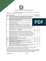 Requisite Documents for Employment Visa