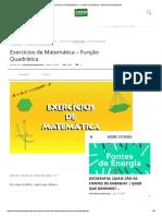 Exercícios de Matemática – Função Quadrática - Enem Descomplicado
