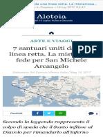 7 Santuari Uniti Da Una Linea Retta. La Misteriosa Fede Per San Michele Arcangelo