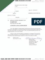 Subpoena in Summer Zervos v Donald J. Trump