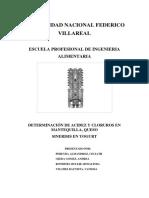 Determinacion de Acidez y Cloruros en Mantequilla Queso Yogut