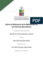 Sobre la Relevancia de la Matemática en las Ciencias Biomédicas/Monografía Bachillerato Pedro Figueroa