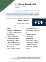2017-10-15 - Orden Del Culto