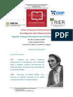Octavo Seminario y Segundo Coloquio de Educación Rural. Agenda