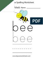 Bee Spelling Worksheet