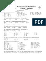 Autoevaluación 2º ESO Números Enteros