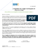 FCPE PEEP Loiret Lettre Ouverte Pdt Agglo Montargoise Metropole Transports Gratuits OCT2017