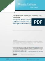 CulturasEscolares Saberes DisciplCuerpos 2016