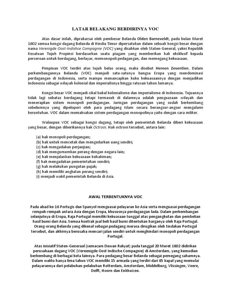 Sebutkan Hak Oktroi Yang Dimiliki Oleh Voc - Sebutkan Itu