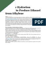 Catalytic Hydration Method to Produce Ethanol From Ethylene