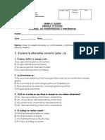 6º Basico Prueba La Energía Transformaciones y Transferencias Hoja Carta