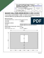 Sachpazis Masonry Wall Panel Analysis Design, Calculations According to Ec2 En1996!1!12005 a1 2012 With Na Uk