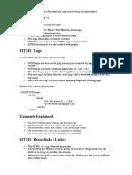 Short Notes on Webpage Programming Languages