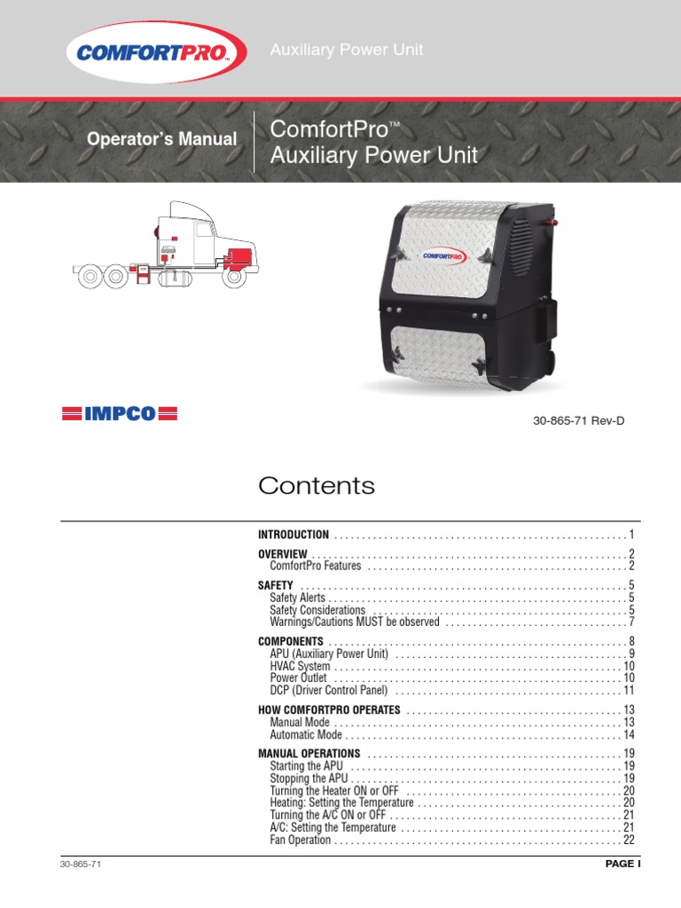 PC6012 APU Operators Manual 30-865-71D   Hvac   Air Conditioning
