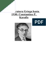 Literatura Griega Moderna. Constantin Kavafis