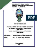 """""""Manual de Procedimientos Del Subsistema de Manejo de Bienes de Almacenes"""