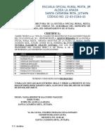 Constancia de Certificado de Estudio Aldea El Limon