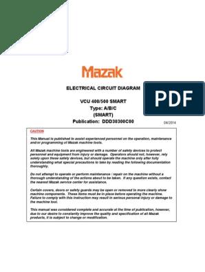 Electrical Circuit Diagram Mazak VCU 500A | Transformer | Switch