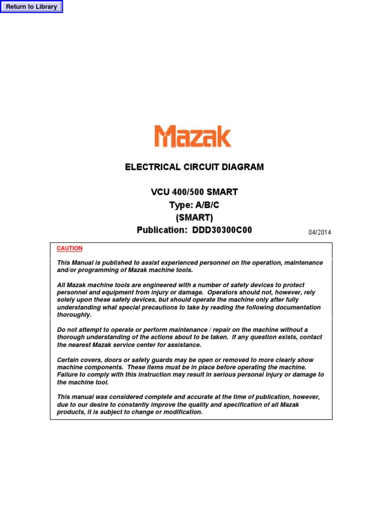 Electrical Circuit Diagram Mazak Vcu 500a Transformer Switch Nexus 7