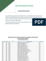 Comunicado Lima Metropolitana Jefe de Seccion Urbano