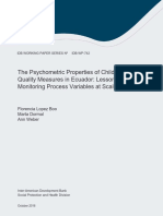 The Psychometric Properties of Child Care Quality Measures in Ecuador Lessons for Monitoring Process Variables at Scale