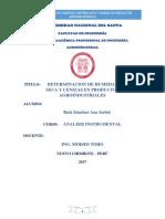 Determinacion de Humedad de Materia Seca y Cenizas en Productos Agroindustriales