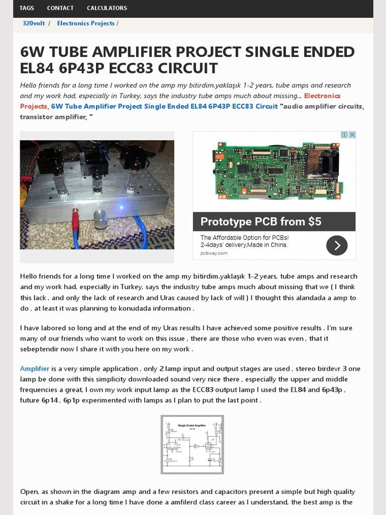6W Tube Amplifier Project Single Ended EL84 6P43P ECC83 Circuit