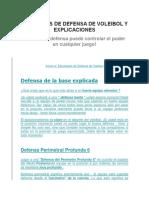 Diagramas de Defensa de Voleibol y Explicaciones
