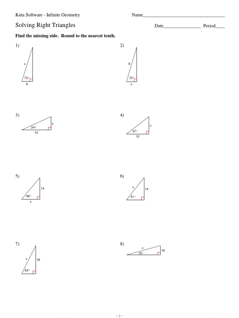 9 Solving Right Triangles Pdf Geometric Shapes Euclid