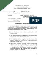 Sample Complaint for VAWC