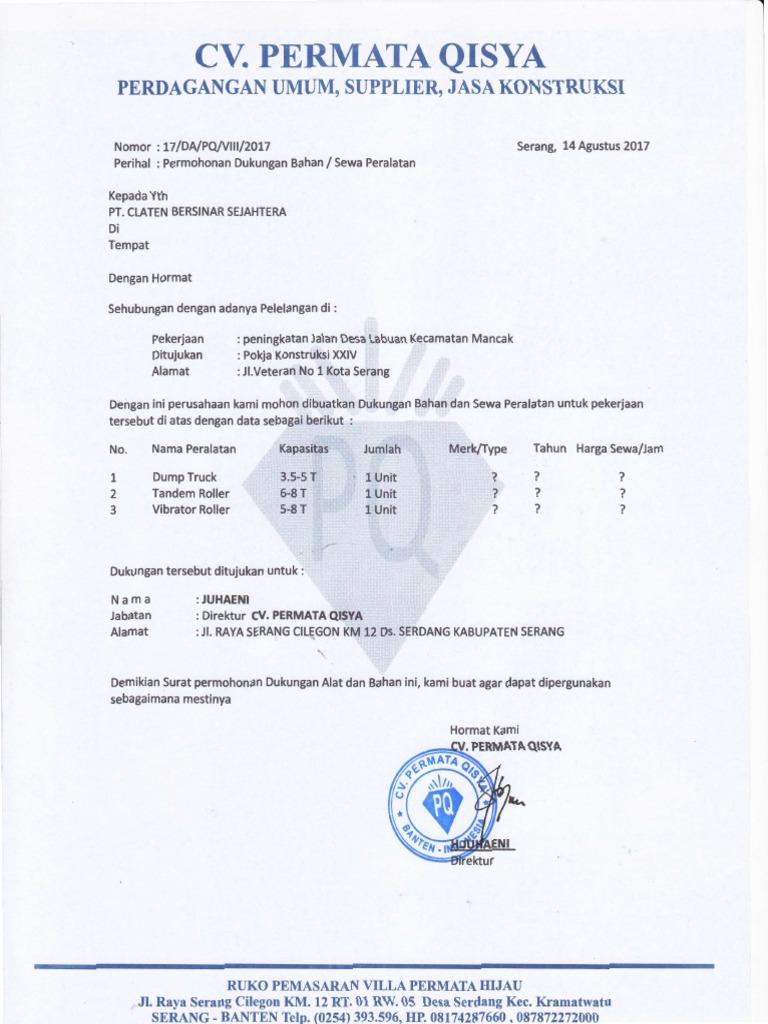 Contoh Surat Permohonan Dukungan Alat