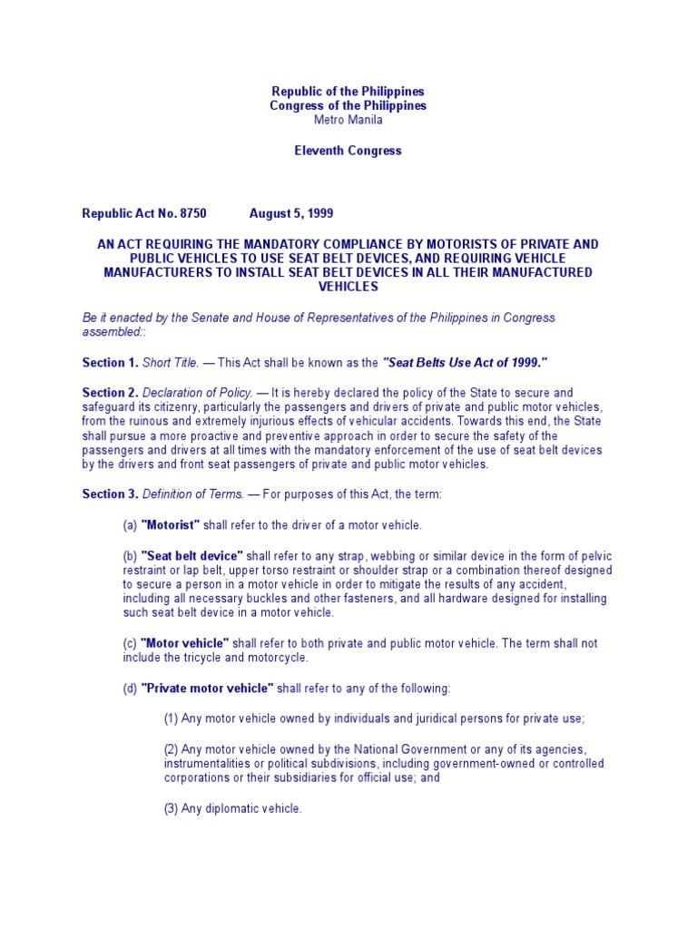 Seat Belts Use Act of 1999 RA 8750 | Seat Belt | Vehicles