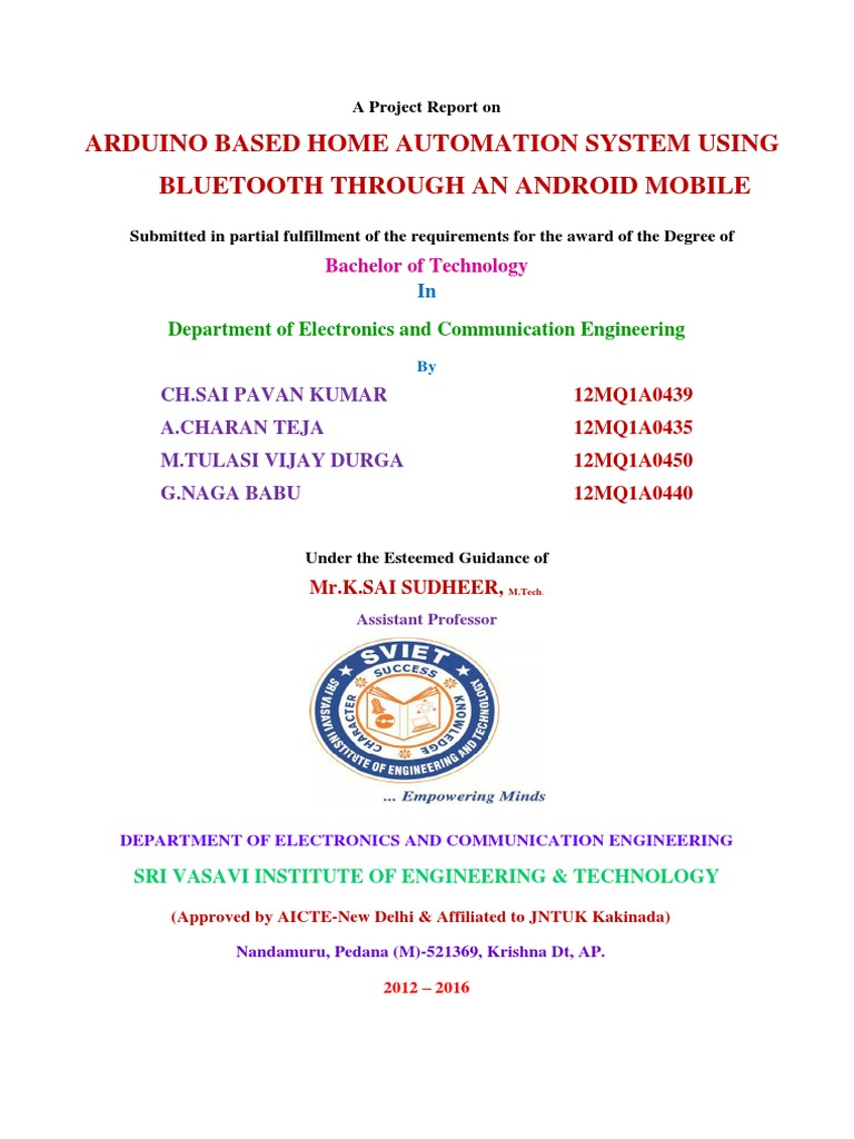 Arduino Based Home Automation Project Report How To Make Bluetooth Circuits4youcom System Using Through An