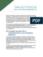 El Nuevo Papel Del FOGASA Tras Los Últimos Cambios Legislativos