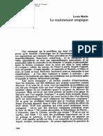 MARIN, Louis, Le Maintenan Utopique
