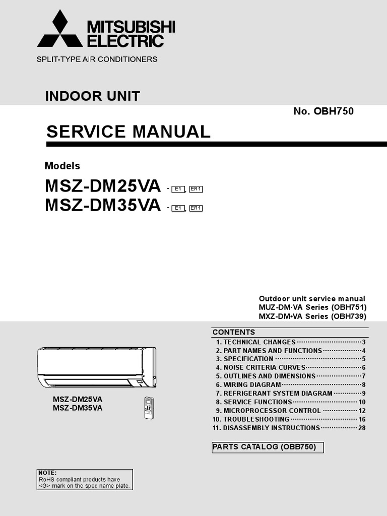 Mitsubishi Msz Wiring Diagram Opinions About For Ac Units Electric Dm Va Service Manual Eng Air Conditioning Rh Es Scribd Com 2 0 4m40 Engine Timing