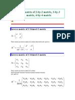 Inverse Matrix of 2x2, 3x3, 4x4
