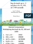 Dividing Decimals Up to 2 Decimal Places by 10, 100, And 1 000 Mentally
