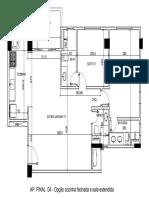 Planta Final 4 - Cozinha Aberta e Sala Estendida - Cotada