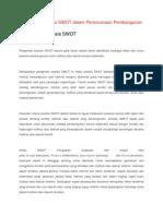 Pengertian Analisis SWOT Dalam Perencanaan Pembangunan