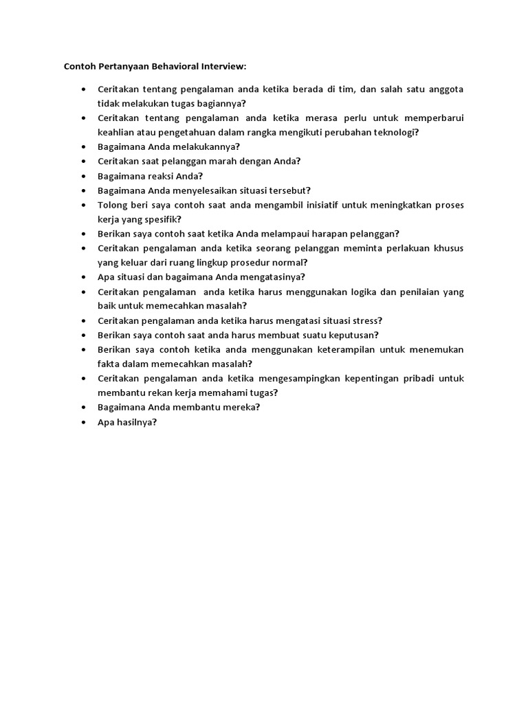 Contoh Pertanyaan Behavioral Interview