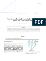 Naturaleza de La Luz y Leyes de Óptica Geometrica