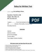 Syllabus Islamic Studies