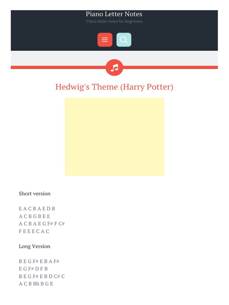 Hedwig s Theme Harry Potter Piano Letter Notes