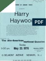 CAP Flyer for Harry Haywood Event 1976