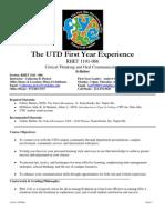 UT Dallas Syllabus for rhet1101.066.10f taught by Catherine Pickrel (cbp091000)