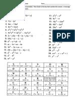 Hidden Message Wks - Factoring Polynomials