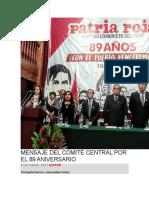 Mensaje Del Comité Central Por El 89 Aniversario