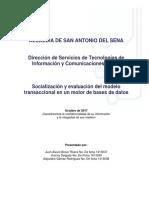 Socializacion y Evaluación Del Modelo Transaccional en Un Motor de BD